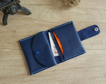 Handmade bifold small leather wallet with round cut flap closure - free shipping Etsy