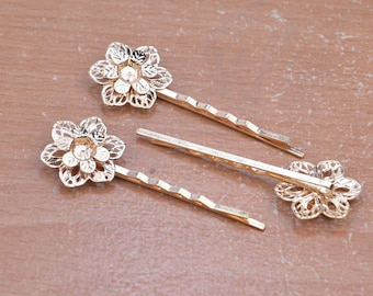 """10pcs 60mm (2.4"""") gold hair clips,Gold bobby pins with two layer filigree flower,jewelry clips."""