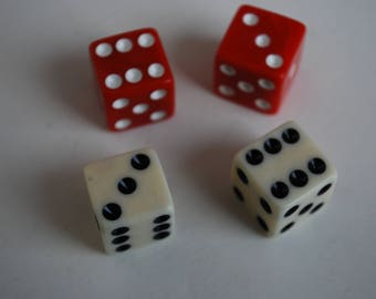 Lot of 4 Vintage  Casino red/creme dice