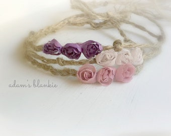 Bodhi - Open Halo Headband Wrap Tie Back - Twine Jute - Mauve Beige or Purple Rosettes - Newborn Baby Girl Infant Adults - Photo Prop