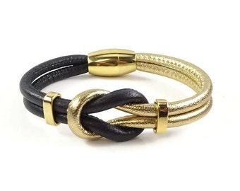 Celtic Knot Bracelet, Black Leather Bracelet, Gold Bracelet, Womens Leather Bracelet, Leather Jewelry, Celtic Bracelet, Infinity Knot