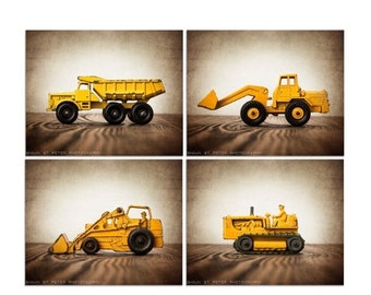 FLASH SALE til MIDNIGHT Set of Four Construction Digger Photo  Prints, BullDozer, Dump Truck, Tractor on Vintage Brown Background, Boys Room
