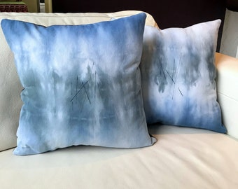 White Denim, Misty Blue and Grey Hand Dyed with Stitch Detail, Set of 2