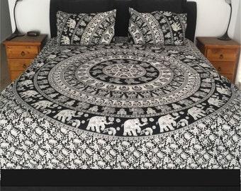King & Queen Size Quilt Doona Cover Mandala Reversible 2 Pillow Cases