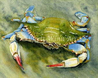 Blue Crab Print, Printable Art, Crab Art, Home Decor, Watercolor, Wall decor, Instant Download