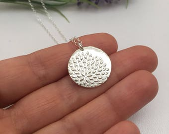 Silver Flower Petal Necklace Fine Silver Disc Pendant