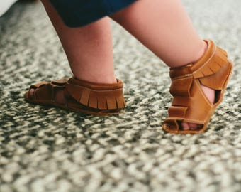 Caramel Moccasin Sandal == Queen B Moccs == baby moccasins == more colors available