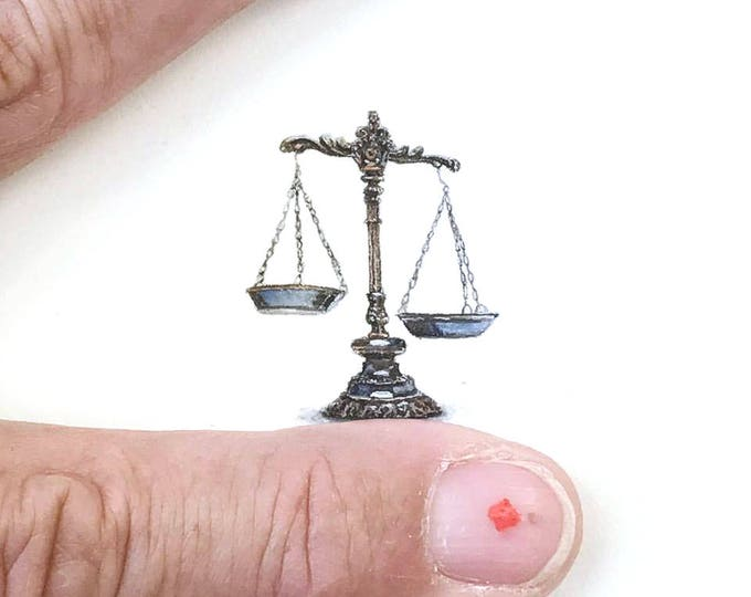 Print of miniature watercolor painting of scales of justice.  giclee print of libra scales