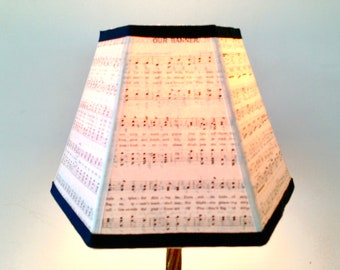 Music Lamp Shade, Piano Lampshade, Clip Top Lampshade - Vintage Sheet Music