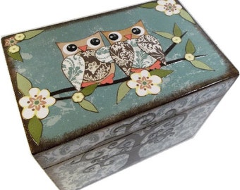 Recipe Box, Decoupaged, Teal Damask Owls and Tree Large Handcrafted Kitchen Storage, Organization Box, Holds 4x6 Cards  MADE To ORDER