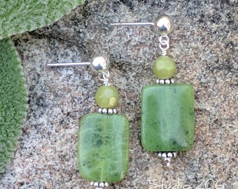 Soft moss green natural stone drop earrings