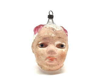 Antique Christmas Ornament, Head with Glass Eyes,Girl, Blown Glass, Mercury Glass,Germany,Unique, Rare, c1920