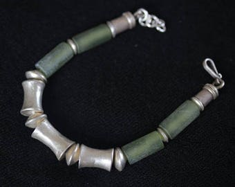 Bamboo shape Bracelet with Bobbin sterling silver pieces and green jade (B0022)