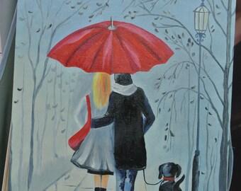 Red Umbrella 30x40 cm