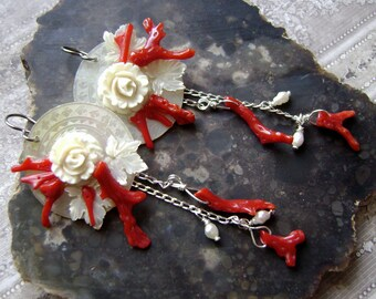 branch coral earrings with carved bone roses and mother of pearl game counters, statement jewelry, ooak, sterling earrings, Anvil Artifacts