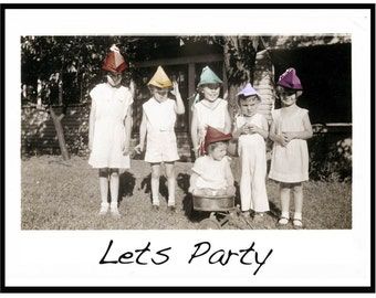 Lets Party Fine ARt Color Photo Greeting Card Vintage Image
