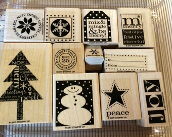 Stampin Up PERFECT PRESENTATION  Set of 11mounted stamp set  Retired  2007  Peace Joy Merry Tree North Pole Snowflake Star