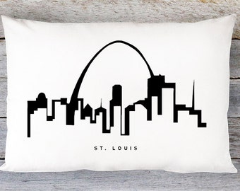 St Louis Skyline Pillow Cover - St Louis Skyline Throw Pillow Cover - Modern Black and White Lumbar Pillow - By Aldari Home