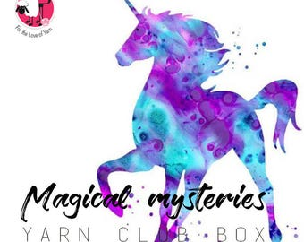 MAGICAL MYSTERIES GIFTBOX - Themed yarn club box, custom dyed yarn gift box, following a magical mysteries and unicorns theme with extras.