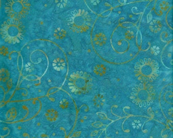 Robert Kaufman Artisan Batik Fabric, Flowers and Vines on Turquoise, 1.5 or by / yard