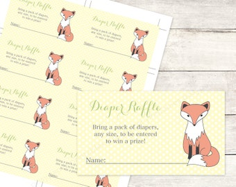 diaper raffle tickets printable fox baby shower DIY yellow grey polka dots woodland fox cute baby digital shower games - INSTANT DOWNLOAD