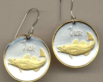 Earrings - Iceland Codfish,  Gorgeous 2-Toned    Gold on Silver   Coin - Earrings