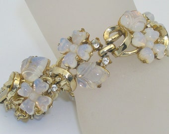 Vintage Coro Molded Glass Rhinestone Accent Floral Bracelet