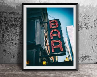 Smith's Bar Neon Sign - New York City - Broadway - Times Square - NYC Sign Photography Print - art photo