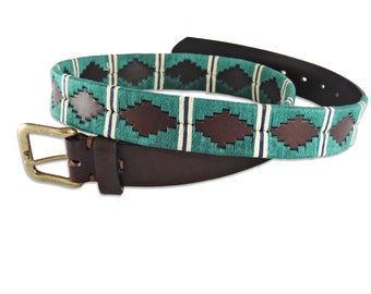 Polo Belt Green Brown - Argentina belt - traditional leather belt