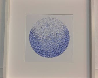 Framed blue pen and ink drawing// planet// original artwork//framed artwork