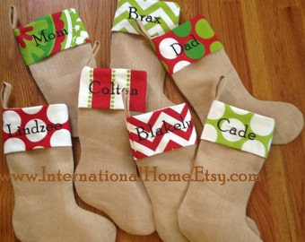 SET OF 8 -Burlap Christmas Stockings - Trendy - Chevron Dot - Personalized