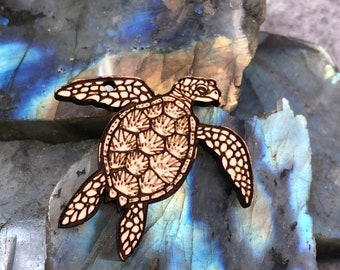 Sea Turtle Wooden Pendant