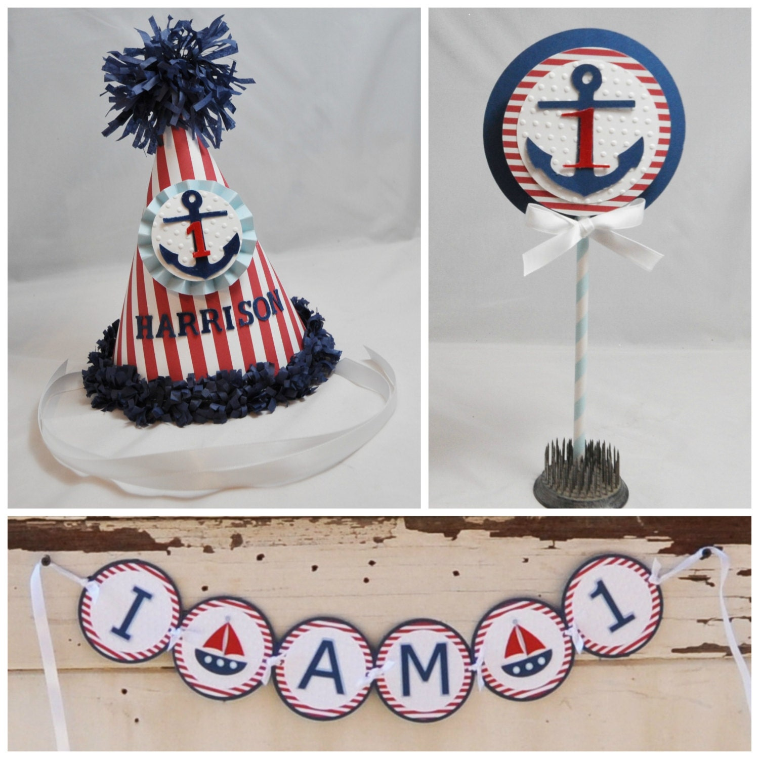 Boy Nautical Smash Cake Photo Props 3 piece set Personalized