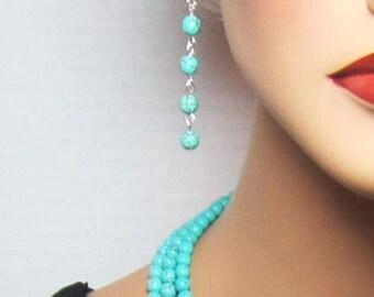 Four Bead Turquoise Earrings Long Turquoise Drop Earrings - Dangle Earrings
