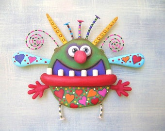 Lovebug, Original Found Object Wall Sculpture, Wood Carving, Painted Sculpture, Whimsical Wall Art, by Fig Jam Studio