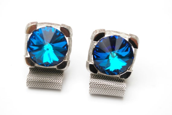 Blue Rivoli  Cuff link - Signed Dante -  silver metal  mesh  -glass crystal - Rhinestone  cuff links