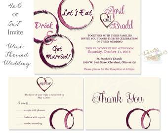 Three Piece Set Wine Wedding Invitation-Vineyard/Tuscan-Printable-Digital File--Invite--Thank Yous--Rsvp Cards