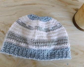 The Thundersnow Messy Bun Beanie Hat Handmade Crochet Acrylic Yarn Boho Cap in Snow white, Gray Goose, & Blue Moon. Houndstooth stitches