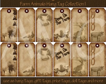Primitive Vintage Farm Animals Printable Hang Tags for Scrapbooking Art