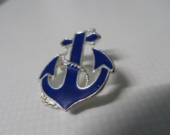 Brooch, Rockabilly, anchor, blue enamel.