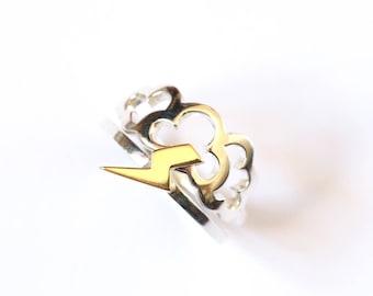 Cloud & Lightning Rings, Sterling Silver, 9ct Yellow Gold, Stacking Rings, Cloud Ring, Lightning Ring, Handmade Rings, RockCakes