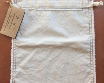 "Organic Cotton Produce Bag, Bulk Shopping Bag, Zero Waste, 8"" X 8"""