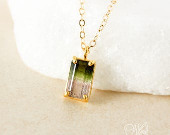 Emerald Cut Watermelon Tourmaline Necklace - Green & Pink Tourmaline - Prong Set