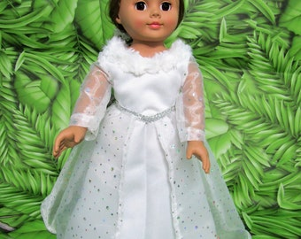 """Disney inspired SNOW QUEEN GOWN, fits most 18"""" dolls"""