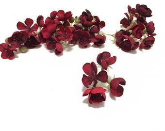 1 Set RED Artificial Apple Blossoms - DIY Wedding Flowers, Artificial Flowers, Hair Accessories, Flower Crown, Halo, Silk Flowers