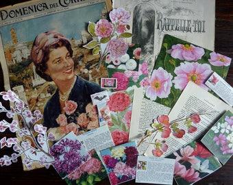 Vintage pink flower set / vintage paper bundle / vintage ephemera