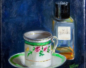 Coffee  art, Chanel perfume, teacup, demitasse, original oil painting