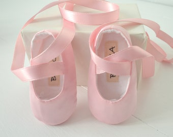 Baby Girl Ballet Shoes, Classic Pink Satin , Newborn Gift, Photo Prop, Bobka Shoes by BobkaBaby
