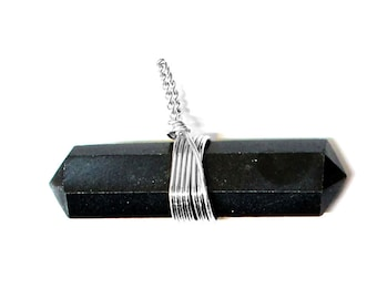 5 (Five ) Black Agate Point Pendant- Double Terminated Wire Wrapped Pendant - Silver Tone - Chakra - Healing - Metaphysical - RK50B15b-06