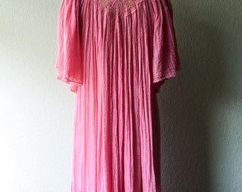Vintage 1970s Grecian Crinkle Cut Pink Gauze Dress by Max Mogan